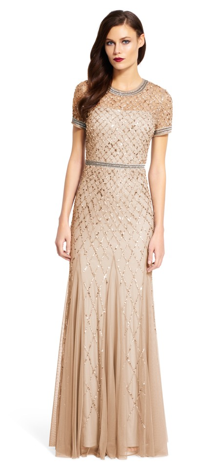 Adrianna Papell Champagne Short Sleeve Beaded Godet Gown Long Formal ...