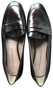 Sigerson Morrison Dark Gray Leather Shiny Round Toe Loafers Anthracite Flats