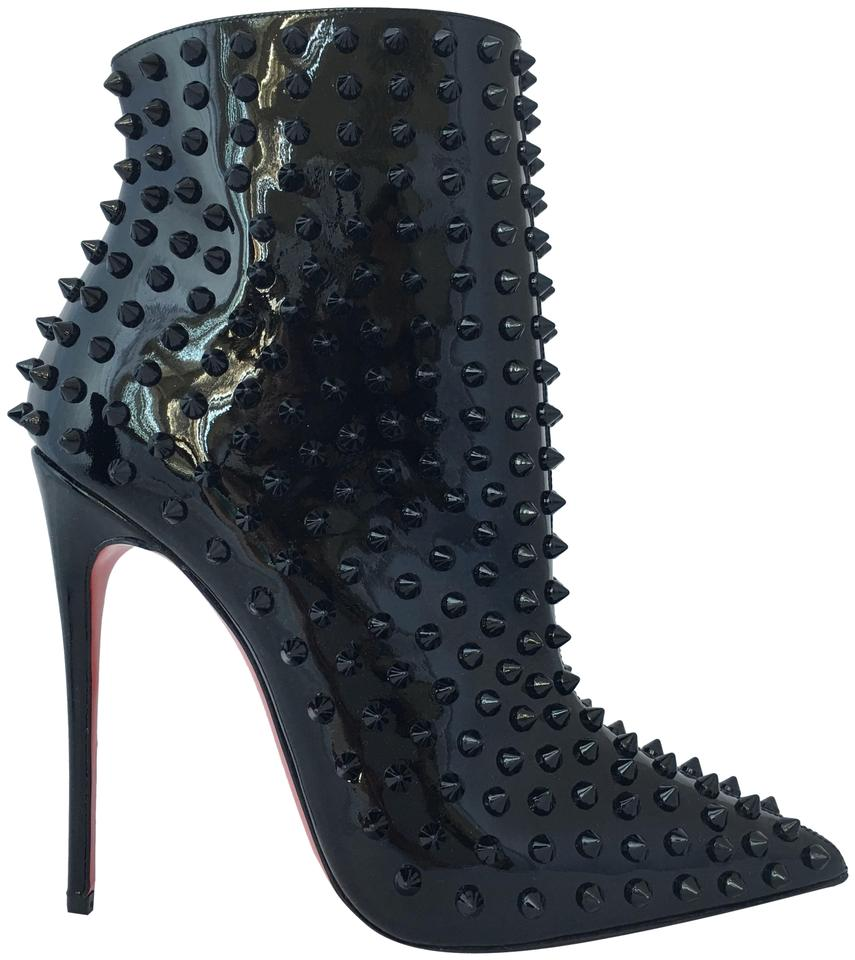 0c53b2816e0 Christian Louboutin Black New Snakilta 38it Patent Spike Ankle Lady High  Heel Toe Zip Red Sole Boots/Booties Size EU 38 (Approx. US 8) Regular (M, B)
