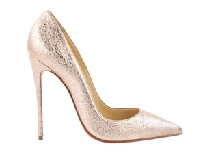 Christian Louboutin Leather Metallic Rose Stiletto Gold Pumps