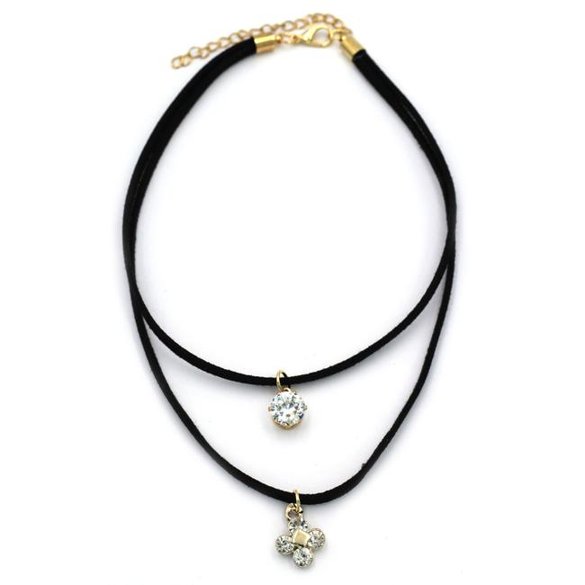 Item - Black Double-chain Crystal and Flower Pendant Choker Necklace