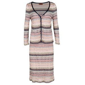 Missoni Multicolor Patterned Perforated Knit Cardigan and Skirt Set L