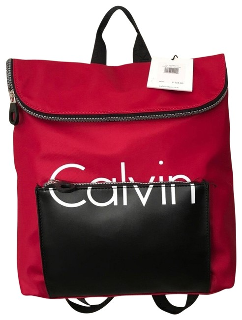 Item - Colorblock Red Nylon Backpack