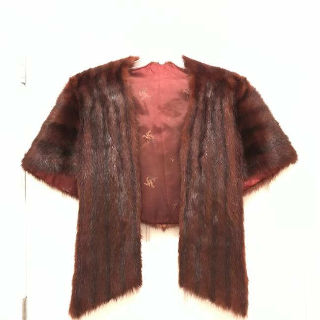 Item - Brown Red Natural Mink Stole Cape Coat Size 14 (L)