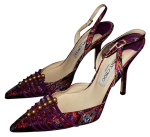 Jimmy Choo Slingback Sandals Heels Pumps Stiletto Orange Black Blue Yellow Studded Rhinestone Gypsy Boho Bohemian Summer Beach Purple Mules
