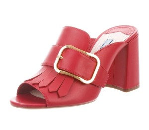 Prada Mule Buckle Red Sandals