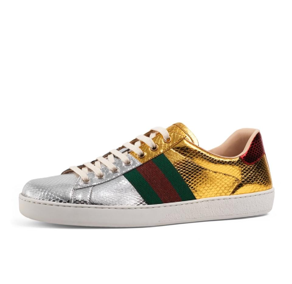 1bf5d0538b80 Gucci New Ace Snakeskin Sneaker Gold silver red green Athletic Image 0 ...