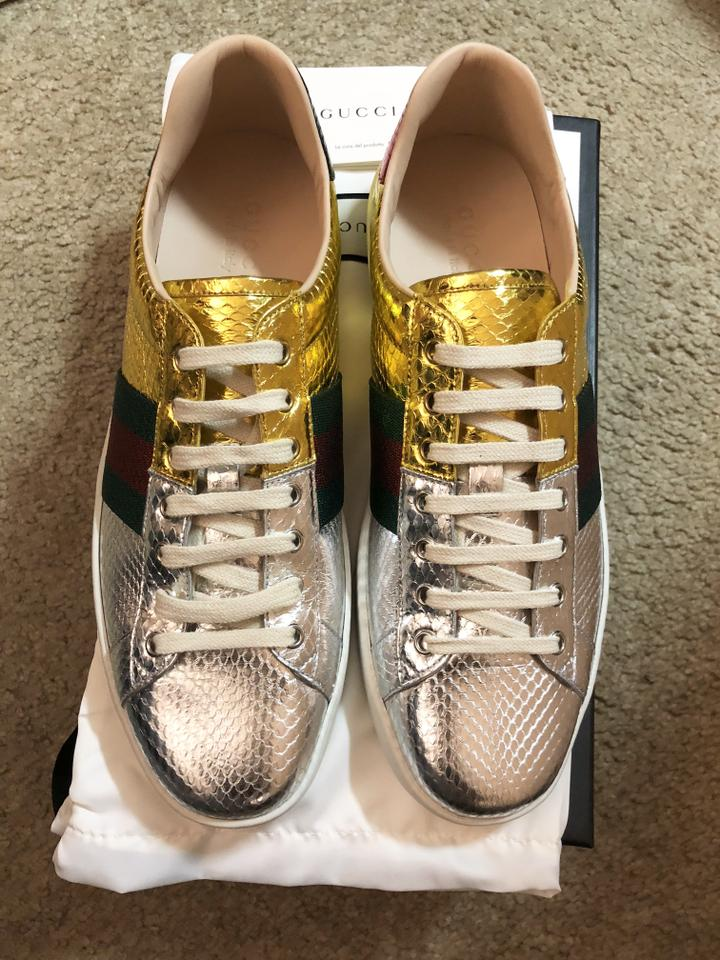 658eea3bfbde Gucci New Ace Snakeskin Sneaker Gold silver red green Athletic Image 7.  12345678