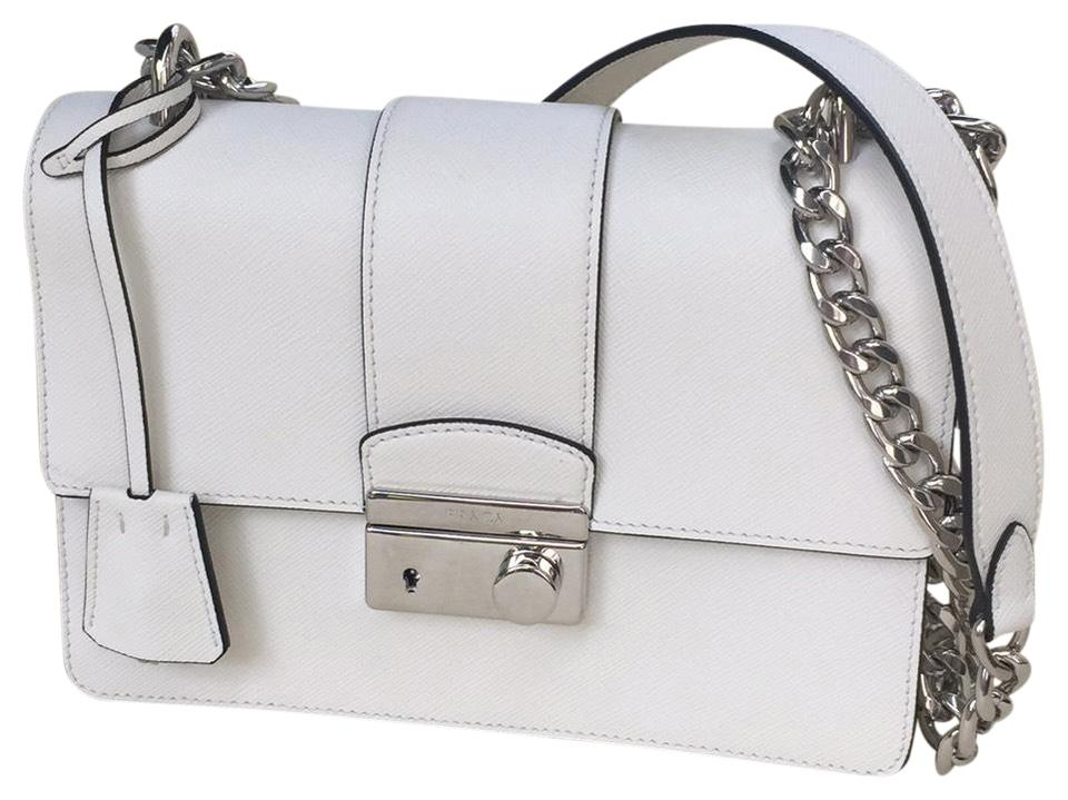 303a7d3579e98f Prada Saffiano 1 White Leather Cross Body Bag - Tradesy