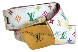 Louis Vuitton Authentic Louis Vuitton Multi color Murakami White Belt 90/36