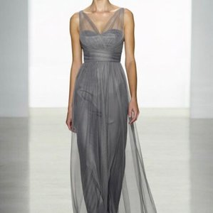 Amsale Graphite Tulle G837u Formal Bridesmaid/Mob Dress Size 14 (L)