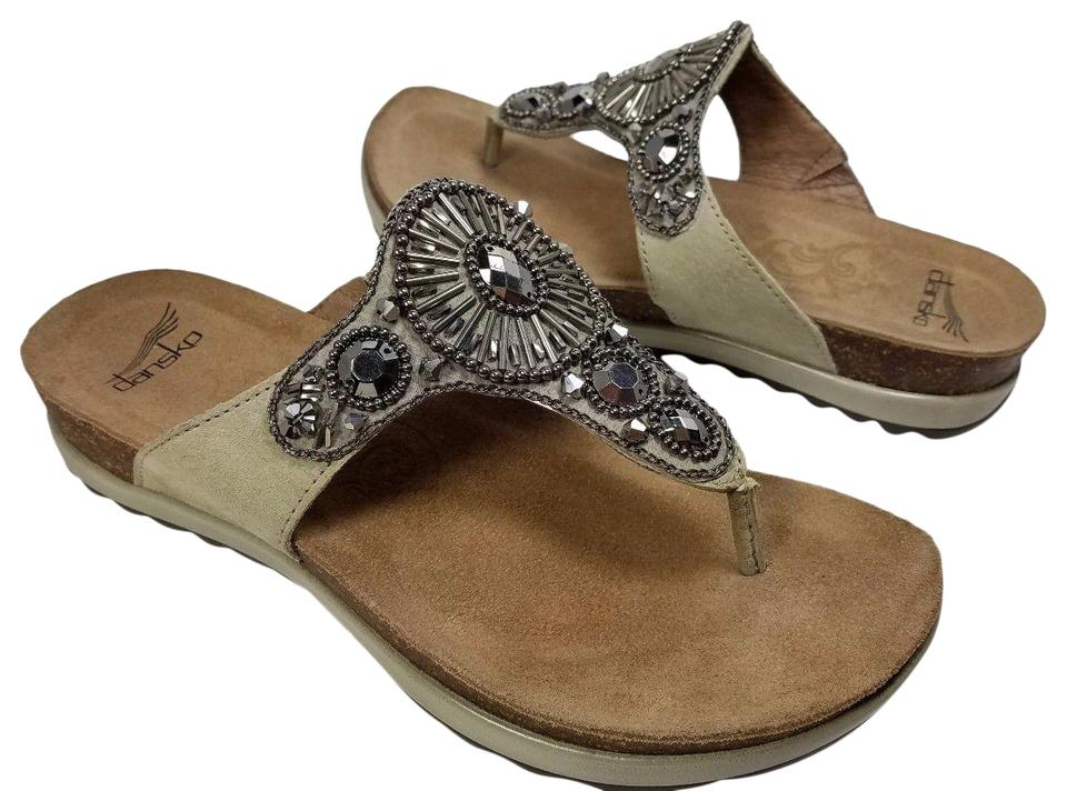 8ca0a587df4c Dansko Taupe Pamela Jeweled Thong Slide Womens Sandals Size EU 36 ...