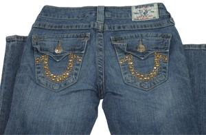 True Religion Studded Gold Stud Distressed Boot Cut Jeans-Medium Wash