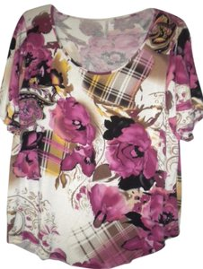 Analogy Floral Short Sleeve Top Multi-Color