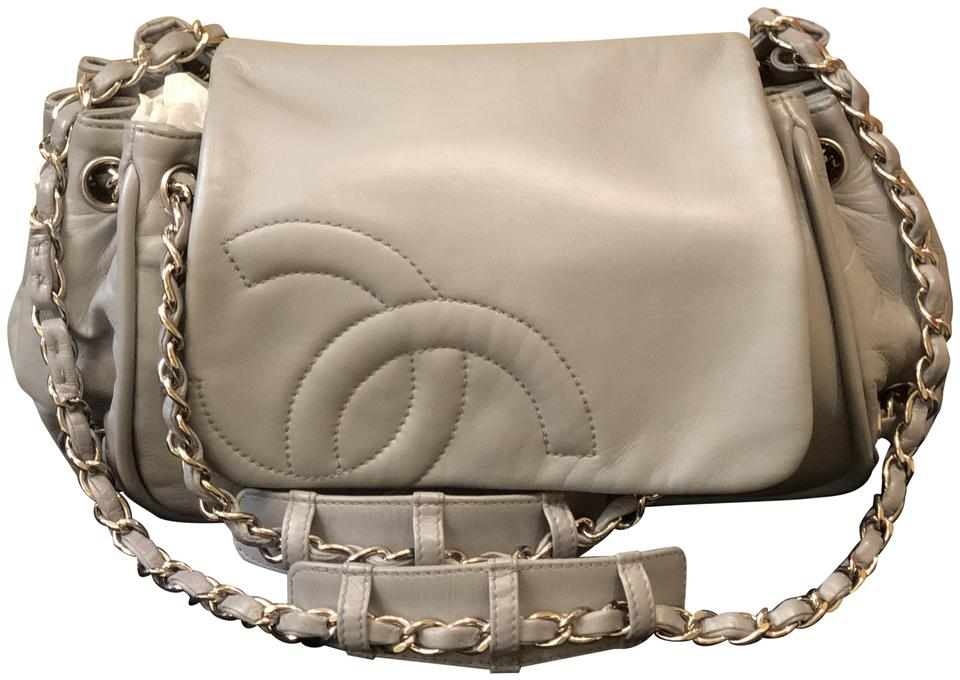 Chanel Classic Flap Double Chain Accordion Cross Body Gray Leather ... 60600666d5b99