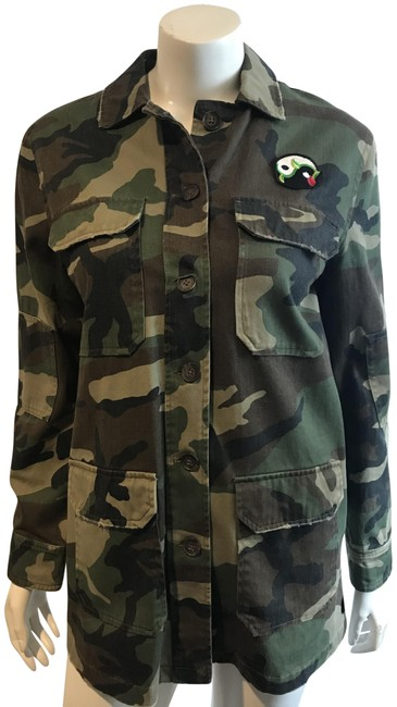 Item - Olive 81418 Camouflage Back Panel Jacket Size 4 (S)