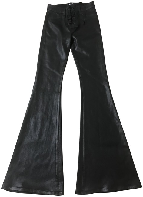 Item - Black Coated Bullocks High-rise Lace-up Flare Leg Jeans Size 25 (2, XS)