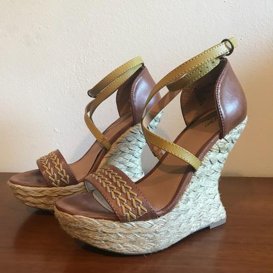 Mossimo Supply Co. Boho Bohemian Wedgesandals Festival Bohosandals Brown & Gold Sandals Image 1