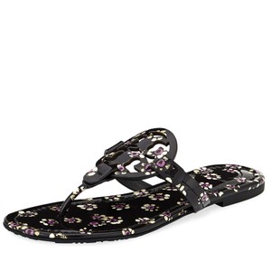 Tory Burch Miller Thong Logo Leather Black Stamped Floral Sandals