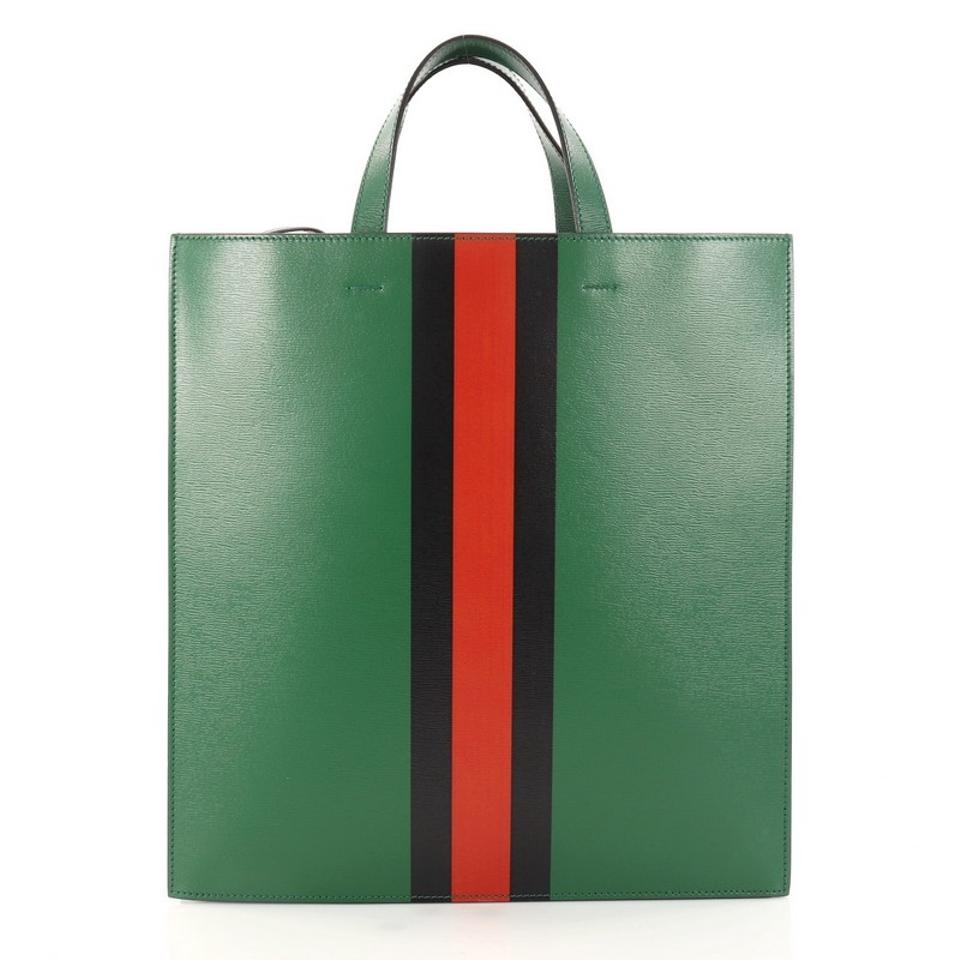 fa8c0f9bbaa Gucci Web and Snake Convertible Soft Open Printed Tall Green Leather Tote