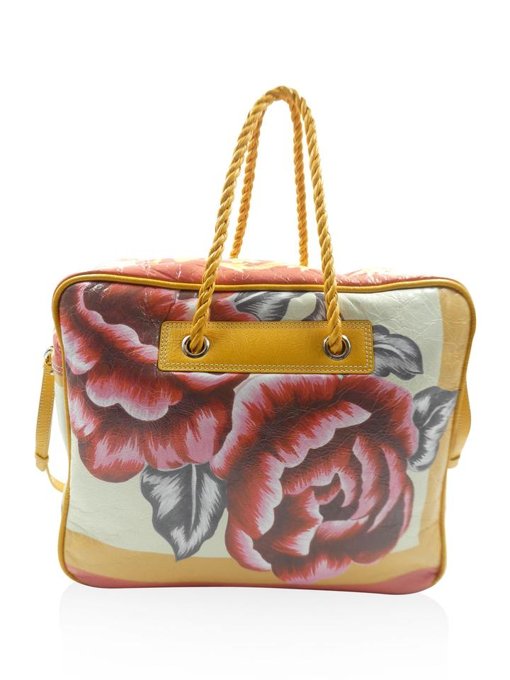 4cf9deeb96bd Balenciaga Leather Floral Blanket Square Handbag Yellow Travel Bag ...
