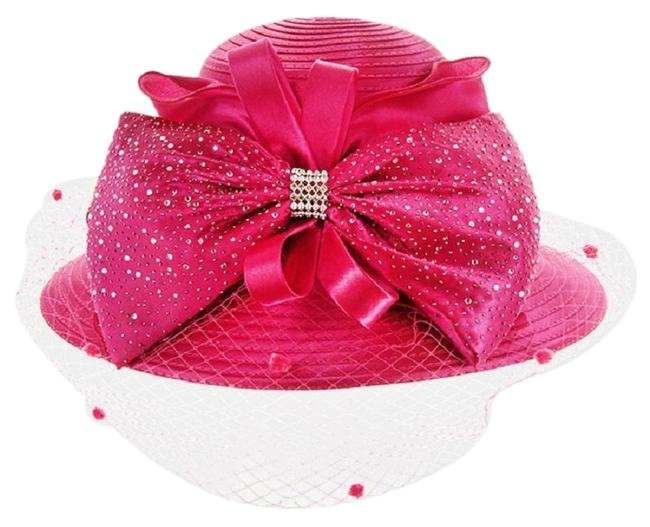 Pink New Formal Dressy Church Large Bow On Front Netting Braid Hat Pink New Formal Dressy Church Large Bow On Front Netting Braid Hat Image 1