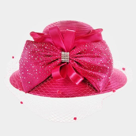 kentucky derby hat New Formal Dressy Church Hat Large Bow on Front Netting Braid Hat Image 2
