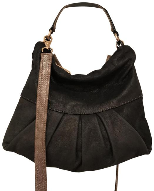 Item - Convertible Distressed Matte Black Gold Leather Cross Body Bag