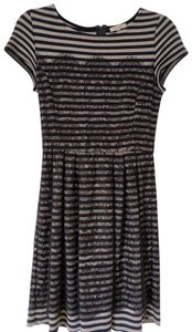 Bordeaux Lace Striped A-line Dress