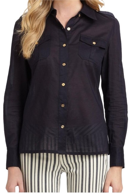 Tory Burch Navy Brigitte Button-down Top Size 0 (XS) Tory Burch Navy Brigitte Button-down Top Size 0 (XS) Image 1