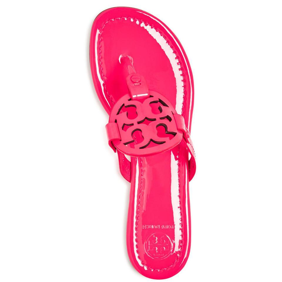 9803cb84518bef Tory Burch Fluo Fuchsia Miller Flip Flop Womens Patent Leather Sandals