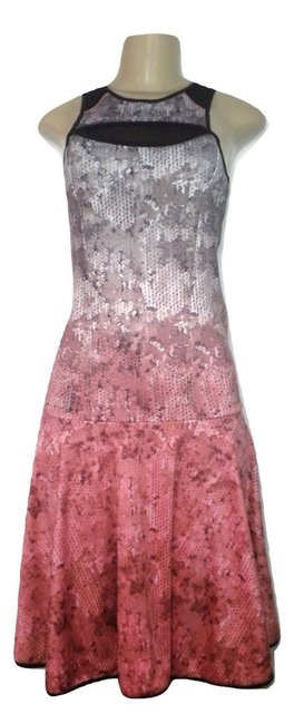 Item - Pink Silver Black White and Shin Length Mid-length Cocktail Dress Size 4 (S)