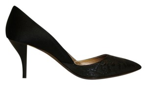 Lanvin Kitten Heels Jacquard 37.5 / 7 Made In Italy Black Pumps