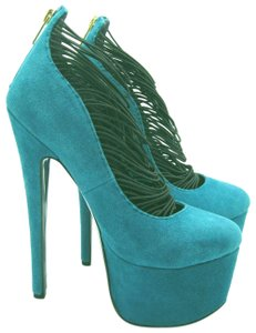 London Trash Ceres Suede Teal Platforms