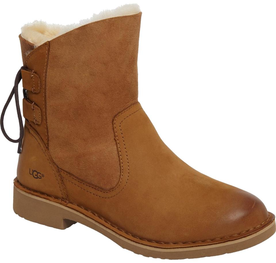 97ae9ba39a9 UGG Australia Chestnut Naiyah Lace-back Genuine Shearling Boots/Booties  Size US 6.5 Regular (M, B) 36% off retail
