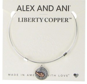 Alex and Ani Liberty Copper CARRY LIGHT Shiny Silver Bangle NWT Card LC16EB02S