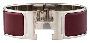 Hermès Palladium Brown enamel Herms Wide Clic Clac Bracelet