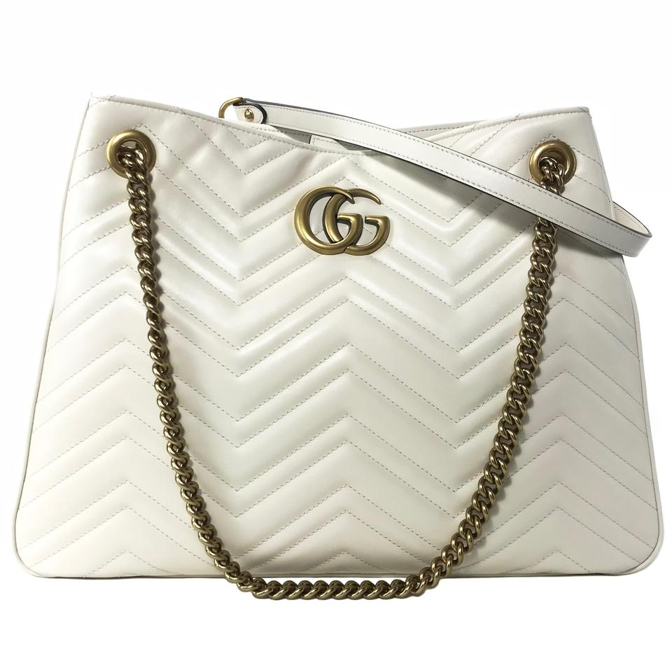 Gucci Marmont 453569 Gg Chevron White Leather Shoulder Bag - Tradesy 019155a05591e
