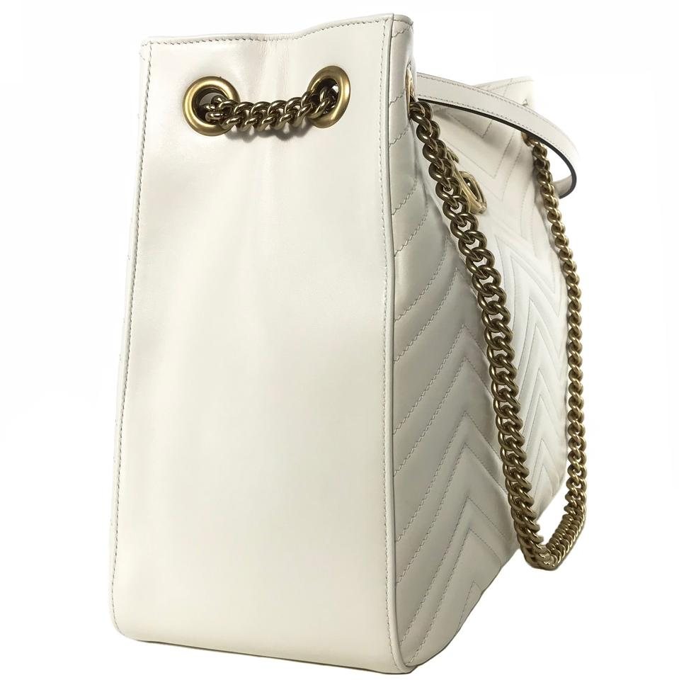 d6d4eb723ee4 Gucci Marmont 453569 Gg Chevron White Leather Shoulder Bag - Tradesy
