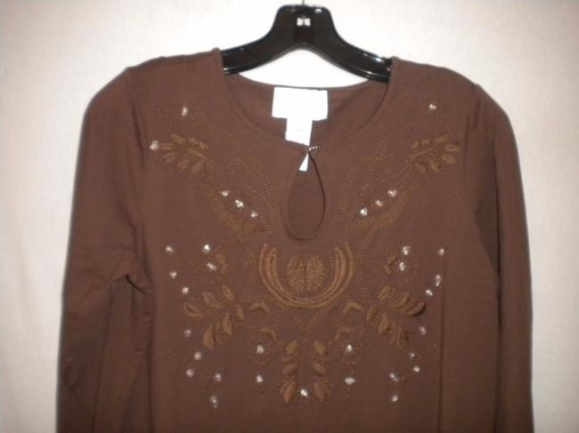 Susan Graver Blouse Shirt 3/4 Sleeve Embroidered Tunic Image 1