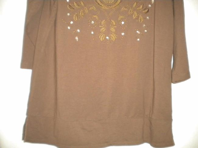Susan Graver Blouse Shirt 3/4 Sleeve Embroidered Tunic Image 2
