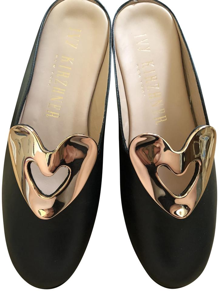 ce12f3612201 Ivy Kirzhner 18kt Calfskin New In Box Dustbag NEW-18kt Gold-Black Mules  Image ...