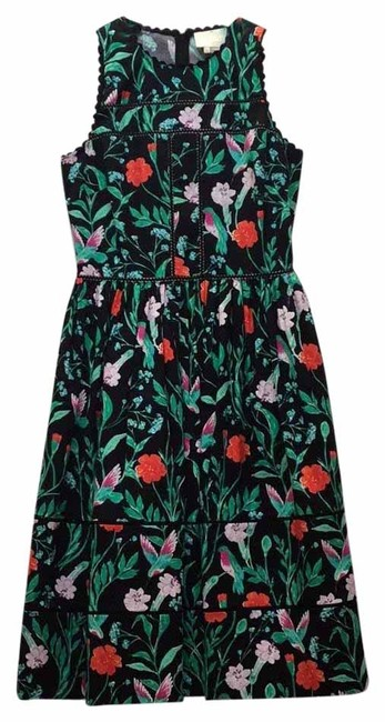 Item - Black Emerald Orange Multi Floral Printed Stretch Cotton Sundress Mid-length Short Casual Dress Size 2 (XS)