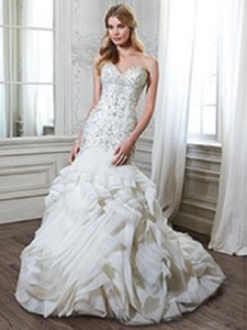 Maggie Sottero Ivory Organza Aurora 5mt153 Formal Wedding Dress Size 12 (L)
