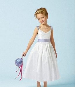 Alfred Angelo White/Lt.Blue Alfred Angelo 6609 Flower Girl Dress - Size 5 White/lt Blue Dress