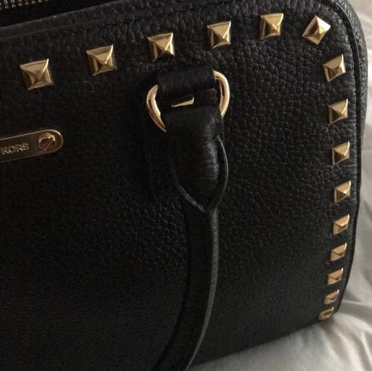 MICHAEL Michael Kors Satchel in black leather with gold stud trim. Image 10