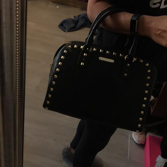 MICHAEL Michael Kors Satchel in black leather with gold stud trim. Image 11