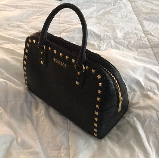 MICHAEL Michael Kors Satchel in black leather with gold stud trim. Image 2