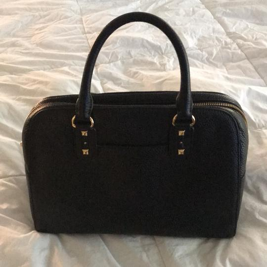 MICHAEL Michael Kors Satchel in black leather with gold stud trim. Image 3