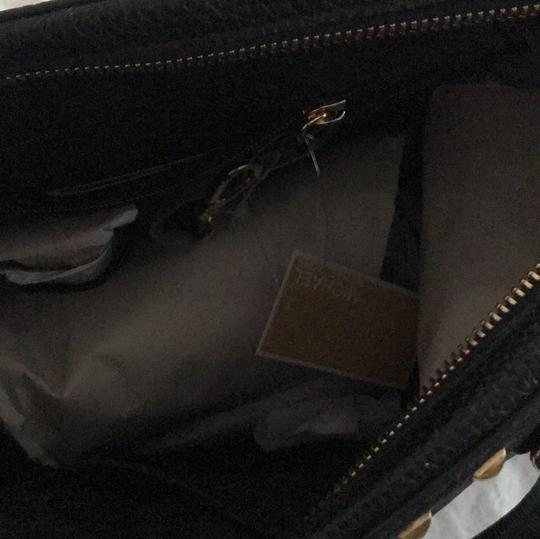 MICHAEL Michael Kors Satchel in black leather with gold stud trim. Image 5